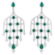 emerald diamond white gold chandelier earrings for
