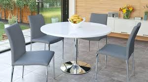 white round table set white gloss round table and 4 modern contemporary chairs chrome legs in