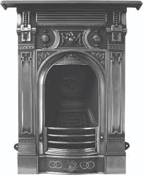small antique traditional style victorian cast iron fireplaces in a hand burnished polished or black finish