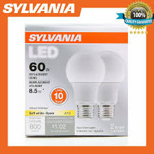 Opale Light Sylvania 60w Equivalent Led Light Bulb A19 Lamp 2 Pack Soft White Energy