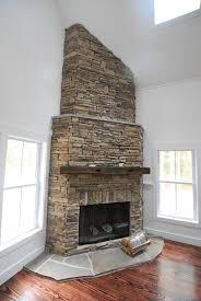 Decorations:Modern Corner Fireplace Decoration Idea Nice Looking Corner  Stone Fireplace Decor With White Wall