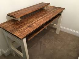 home studio desk diy with sliding keyboard all made from recycled wood