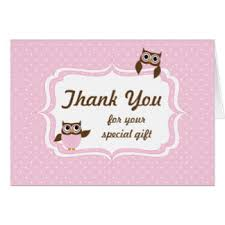 Owl Baby Shower Greeting Cards  ZazzleOwl Baby Shower Thank You Cards