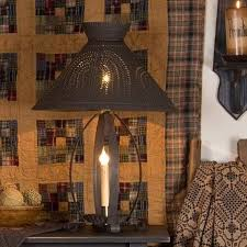 punched tin lighting. betsy ross colonial table lamp with pierced willow tree shade in blackened tin punched lighting