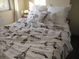 Pop art Full QUEEN KING Twin XL duvet cover-Eiffel tower stencil ... & Pop art Full QUEEN KING Twin XL duvet cover-Eiffel tower stencil Paris  London Roma print doona cover-white brown book bedding Adamdwight.com