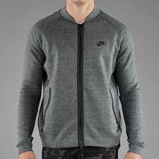 nike sportswear tech fleece varsity jacket mens clothing tumbled grey black heather black