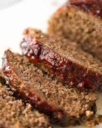 close up of meatloaf slices with caramelised glaze