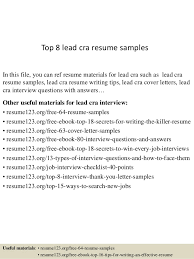 Top 8 lead cra resume samples In this file, you can ref resume materials  for ...