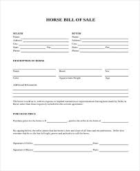 Bill Of Sale For A Horse Bill Of Sale Form In Word