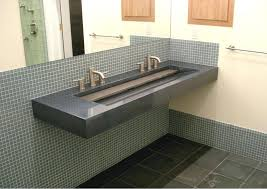 bathroom sink commercial bathroom sink eye catching grey marble trough with double stainless steel faucet