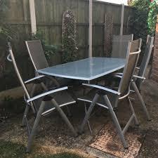 garden furniture patio set gray glass top reclining chairs