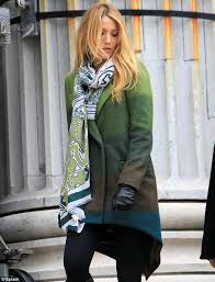 stylish blake lively looked lovely in a wintry outfit on set of gossip girl