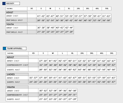 Size Chart Athletic Knit