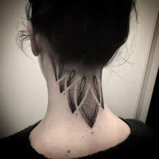 Dotwork Ornament Tattoo On The Neck Tattoogridnet