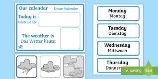 Daily Calendar Weather Chart English German Eal German