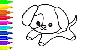 puppy drawing for kids. Exellent Puppy Baby Puppy Drawing Dog For Kids  Learn Coloring Art  Painting With Throughout U