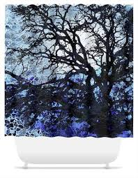 artistic shower curtains. Contemporary Shower Abstract Blue Tree Silhouette Shower Curtain  Moonlit Night  Fusion Idol Arts For Artistic Curtains O