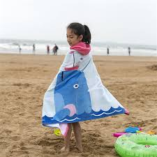 kids hooded beach towels. XYZLS 100% Cotton 127*76cm Cartoon Kid Beach Towel Children Wearable Swimming Hooded Wrap Bath For Boy And Girl-in Towels From Home Kids