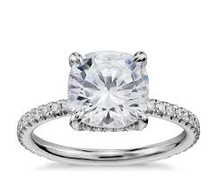 blue nile studio cushion cut petite french pav crown diamond