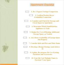 Sample New Apartment Checklist Things Needed For An First No Credit ...