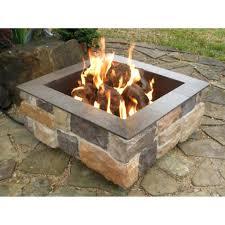 fire pit simple patio low square gas design limestone blocks barrier granite capstone lava rock popping