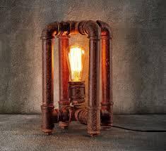 lighting industrial look. Piping Enclosure Industrial Look Copper Table Lamp Lighting