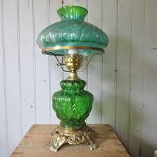 green glass hurricane table lamp elegant vintage lighting