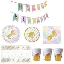 <b>Disposable</b> Tableware <b>Unicorn Party</b> Pull Flag Napkins Cups <b>Plates</b> ...