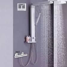 Shower Panel Aluminum Rain Soap Dish Thermostatic Tap Silver Sanlingo