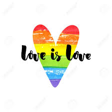 Love Is Love Inspirational Quote On Rainbow Heart Gay Pride