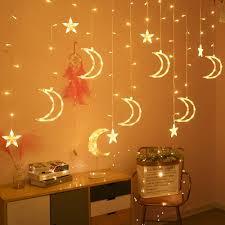 Fairy Lights Moon Us 9 53 37 Off 220v Led Moon Star Lamp Christmas Garland String Lights Neon Lantern Fairy Curtain Light For Wedding Holiday Decoration 3s On