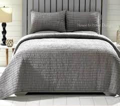 rochelle grey 3 pc king bedding set quilt 2 shams cotton 2 ruching