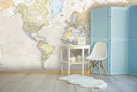 Home office wallpaper Vintage Pastelmapmuralinhomeoffice Wallsaucecom Wallpaper Murals That Will Boss Your Home Office Wallsauce Au