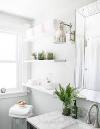 bathroom: Glossy Pure White Furniture With Chic Fresh Bathroom Plant Decor  Inspiration On Marble Countertop