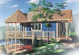 House plan W detail from DrummondHousePlans comfront   BASE MODEL Affordable Cabin house plan open floor plan  large covered deck