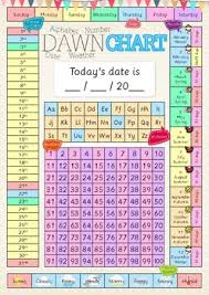 Alphabet And Numbers Chart Dawn Daily Date Weather Alphabet Number Chart For Calendar Poster