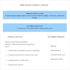 Balanced Scorecard Template Hr Format Download Example Metrics Xls