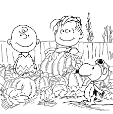 Happy Charlie Brown And Pumpkins Coloring