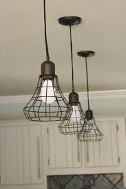 industrial kitchen lighting. Triple Industrial Cage Pendant Lamps For Kitchen Lighting Fixture