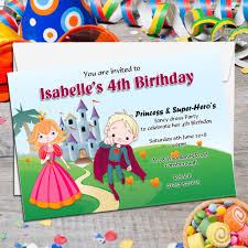 superheroes birthday party invitations 10 personalised princess super hero s birthday party invitations n85