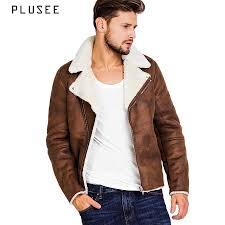 description plusee faux suede jacket for men brown winter leather jacket men 2017