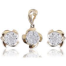 jisha diamond pendant earring set in bis hallmark 18kt gold