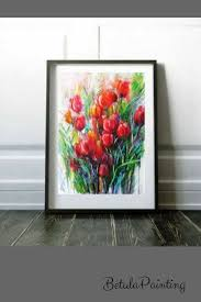 >watercolor flower painting abstract flower art floral wall decor  watercolor flower painting abstract flower art floral wall decor mothers day gift flower art grandmother living room modern art tulips decor red tulips