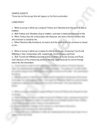sample essays doc african languages and literature  sample essays these are not the essays that will appear on the final examination long essay 1 write an essay in which you compare firdaus and okonkwo from