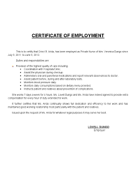 Format For Certificate Of Employment New Samp Certificate Of Employment Format Nurse New Certificate