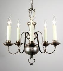 colonial revival chandelier marvelous antique silver plated five light sold shower