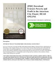 Pdf Download Evicted Poverty And Profit In The American City Ebook