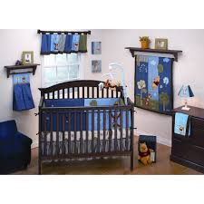 blue pooh crib bedding set