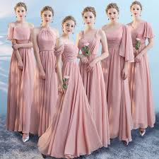 <b>chiffon</b> Pink silver <b>gray</b> Bridesmaid Dresses <b>elegant</b> Wedding Party ...