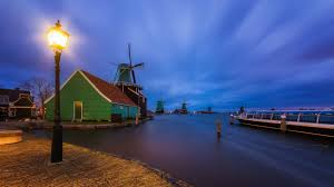 Water Lamps Nature Landscape Evening Lights House Town Clouds